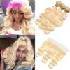 Peruvian Virgin Hair 613 Blonde Bundles With Cosure Body Wave 3 Bundles With 13x4 Lace Frontal 613# Color 8-30inch Body Wave
