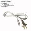 6FT 2PIN nos cabos de alimentação sem interruptor