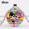 SONGDA 2019 Kids Girls LOL Dolls Silver Color Chain Long Necklace Cartoon Pattern Glass Cabochon Toy Pendant Necklace Party Gift