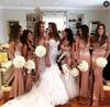 Sparkling rose gold Sequin Mermaid Maid Of honor gown With Spaghetti Sexy Side Split Long Wedding Guest Dresses