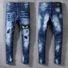 2019 New Jeans High Quality Luxury Men Designer Jeans Patch Slim Paint Little Feet Locomotive Mens Jeans Size 29-40