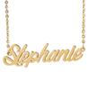 "Personalized custom 18K Gold Plated Stainless Steel Script Name necklace "" Stephanie "" Charm Nameplate Necklace Jewelry gift NL-2430"