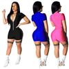 Women Jumpsuits Night Club Rompers Summer Bodycon Sexy V Neck Zipper Short Sleeve One Piece Bodysuit Fashion S-2XL 3 Color New A32109
