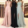 2019 Chiffon Long Bridesmaid Dresses A-line Jewel Neck Halter Lace Applique Floor Length Draped Side Split Formal Evevning Gown Prom Dress