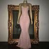 Stunning Rose Pink Sequined Prom Dresses Sexy Spaghetti Straps Mermaid Sleeveless Evening Gowns 2019 real photos