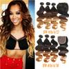 Ombre Human Hair Bundles With Closure Brazilian Hair Weave Bundles Straight Body Wave 3 Bundles With Lace Closure Ombre Hair Extensions