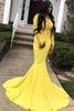 African Yellow Mermaid Evening Dresses 2019 Hot Selling Custom Pleats Off-the-shoulder Long Sleeve Lace Formal Prom Party Gowns