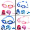 Children's swimming goggles Cartoon fish swimming goggles package Boys and girls children waterproof and anti-fog equipment big children