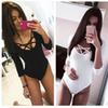 Hot Tops Women Jumpsuit 3 4 Sleeve Bodysuit Bodycon Lady Body Sexy T Shirt Clubwear V Neck Hollow Out Bodysuit