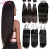 8A Peruvian Indian Malaysian Brazilian Hair Bundles Unprocessed Remy Human Hair Weave With Closure Brazilian Straight Virgin Hair Extensions