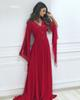 Cheap Chiffon Evening Dresses With Long Sleeves A-line V-neck Wine Red Long Formal Gown Beaded Appliques Party Dress