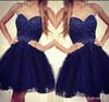 2019 Cheap Navy Blue Sweetheart Short Homecoming Dress A Line Mini Juniors Sweet 15 Graduation Cocktail Party Dress Plus Size Custom Made