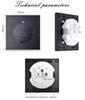 Wall Light Switch With LED Indicator Coswall Luxurious 1 Gang 1 Way Random Click Push Button Black Aluminum Metal Panel