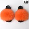 New Summer Women Slippers Really Fur Fox Hair Slides Flat Plush Shoes Home Flip Flops Ladies Beach Sandals