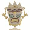 New Iced Out UKA Mask Solid Pendant Necklace Mens Personalized Micro Paved Hip Hop Gold Silver Color Bling Charm Chains Jewelry