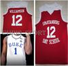 Spartanburg Day School #12 Zion Williamson jerseys Duke college #1 embroidered basketball jerseys custom stitched player uniform