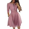 Women O Neck Half Sleeve Elegant Tunic Party Dress Female Zipper Pleated Casual Office Work Lady Vintage Vestido With Belt