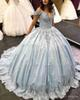 Luxury Long Quinceanera Dresses Puffy Ball Gown Sweetheart Cap Sleeve Sweet 16 Beaded Light Blue 15 Year Quinceanera Dress