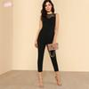 Lace Yoke Jumpsuit Keyhole Back Skinny Women Round Neck High Waist Elegant Summer Zipper Sleeveless Jumpsuit