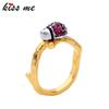 Women Wedding Ring High Quality Gold Color Copper Crystal Insect Rings Female Fashion