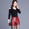 2019 Newnew winter pu leather shorts women boots high waist fashion shorts female black leather shorts plus size red and black S190423