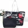 Free shipping new style women classic fashion black print doodling composite shoulder big size Commuter bag