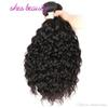 Shesbeauty 100% unprocessed human hair water wave bundles natural black color 8a hair weave extensions no shedding no tangle can bedyed