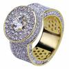 mens ring vintage hip hop jewelry white Zircon iced out copper luxurious rings luxury gold Business type fashion Jewelry wholesale