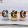 2018 Rose gold male and female rings titanium steel arc black and white ceramic ring spring ring 18 K wide Edition