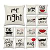 Sofa Decorative Mr Mrs Always Right Square Cushion Cover Customized Pillow Case The Wedding Letters Cushions Linen Cover Free DHL
