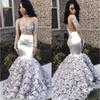 Gorgeous Rose Flowers Mermaid Prom Dresses 2019 Appliques Beads Sheer Long Sleeve Evening Gown Silver Stretchy Satin robes de soirée