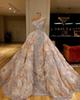 Dubai Luxury Beading Champagne One Shoulder Sequined Mermiad Prom Dress Vintgae Flowers Plus Size Formal Evening Party Pageant Gown