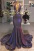 Shinny 2019 Purple Prom Dresses Mermaid Plunging V Neck Backless Prom Evening Party Gowns For Black Girls DP0463