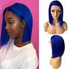 Glueless Lace Front Wigs Bob Cut Wig Brazilian Human Hair Blue Straight Wig for Black Women Pre Plucked Bleached Knots
