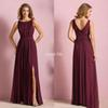 Elegant Burgundy Chiffon Long Beach Bridesmaid Dresses 2019 Wedding Party Dress For Women Maid of Honor Dresses With Split