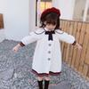 free shipping baby girl 7-minute sleeve dress children spring cotton linen dress kids autumn clothes