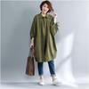 MFERLIER women blouse spring autumn loose Vintage Solid color Loose Casual Cotton linen women shirts Green color