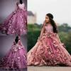 2019 Vintage 3D Flora Flowers Ball Gown Girl Pageant Dresses Sheer Long Sleeve Appliques Floor Length Kids Toddler Pageant Evening Gown