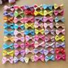 "100pcs lot 1.4"" handmade kids baby girls hair accessories Wave point dot bow clip hairpin hair clip children hair Barrettes jewelry"