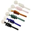 Multi-colors glass pipes Curved Glass Oil Burners Pipes 14cm length 30mm Diameter ball Balancer Water Pipe smoking pipes