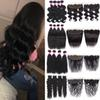 Brazilian Virgin Hair With Closure Deep Wave 13x4 Ear To Ear Lace Frontal With Bundles Peruvian Malaysian Human Hair Wefts With Closure