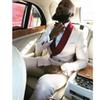 Custom Made White Floral Lace Formal Suits Groom Tuxedos Suits 2 Pieces Mens Suits for Wedding Jacket+Pants+Tie+Hankie