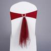 New 50pcs lot Wine Red White Blue Stretch Lycra Chair Band Heart Buckle With Muslin Sashes For Wedding Party Banquet Decoration