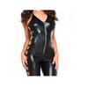 e2dc69198d9 Faux Leather Hanging Neck V-neck Jumpsuit Pants Legs Side Hollow ...
