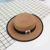 Summer Fashion Ladies Sun Hats Travel Beach Straw Cap Flat Bottom ... d530c615c1ad