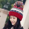 9a516d7b Women Winter Beanie Warm Colorful Cable Knit Fleece Lined Pom Hat ...