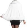 S112 Ponchos Rot Frauen Wolle Capes Weiß Flauschigen Gestrickte Mantel Schal Hochzeitskleid Schwarz Cape Kunstpelz Mantel Shaggy Pelz Winter Top erxCdBo