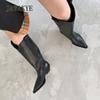 JAWAKYE Neue echte leder spitz Toe Kniehohe stiefel frauen Square Kitten heels weibliche Winter lange stiefel Cowboy Knight