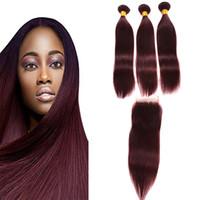 Brazilian Burgunder Haar mit Spitze Frontal Closure 4x4 Zoll Silk Straight # 99J Weinrot Menschliches Haar Bündel mit Ohr zu Ohr Voll-Stirn