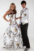 Crystal Snow Camo Wedding Dresses With Pick Up Skirt White C...
